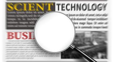 Magnifying glass with blank white screen over newspaper photo