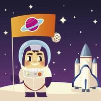 space astronaut spaceship and flag on moon galaxy cartoon vector