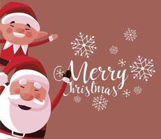 merry christmas cute santa and elf snowflakes greeting card vector