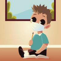 Back to school of boy kid with medical mask and pencil vector design