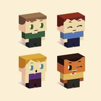 kids, boys little characters standing, isometric style vector