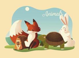 cartoon animals fox rabbit turtle and squirrel in the landscape vector
