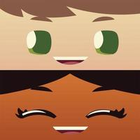 cartoon face boy and girl happy characters, kids design vector