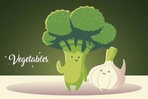 verduras kawaii lindo brócoli y cebolla estilo de dibujos animados vector