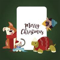 merry christmas greeting card with cute animals wearing winter clothes vector