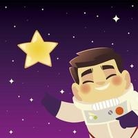 space astronaut star galaxy cosmos explore cartoon character vector