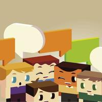 kids conversation with speech bubble, isometric style vector