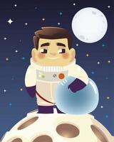 space astronaut holding helmet on planet and moon background vector