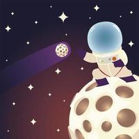 space astronaut on moon comet and stars galaxy cartoon vector