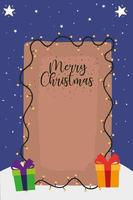 merry christmas lettering with lights and gifts decoration vector