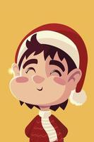 merry christmas cute boy with hat character portrait cartoon vector