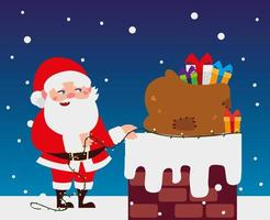 merry christmas santa with lights and bag in the chimney vector