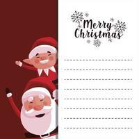 merry christmas santa claus and elf greeting card vector