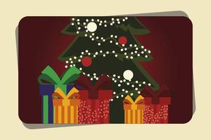 merry christmas greeting card with tree and gifts vector