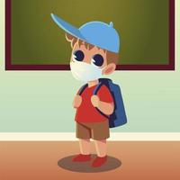Back to school of boy kid with medical mask and hat vector design