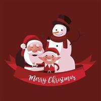 merry christmas santa snowman and elf ribbon decoration vector