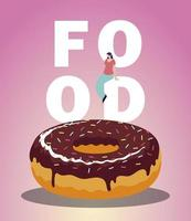 sweet chocolate donut and woman on food lettering vector