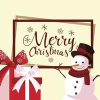 merry christmas lettering snowman and gifts card vector