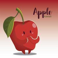 fruit kawaii cheerful face cartoon cute apple vector