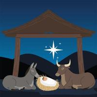 nativity manger baby jesus with donkey ox and star in the night vector