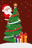 merry christmas santa in tree and gifts celebration decoration vector