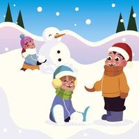 cheerful group girls and boys playing with snow vector