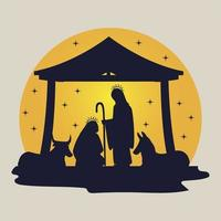 nativity manger in silhouette mary joseph and animals vector