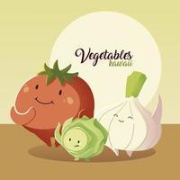 verduras kawaii lindo tomate cebolla y repollo estilo de dibujos animados vector