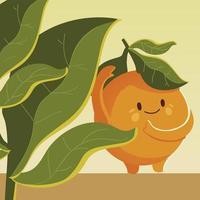fruit kawaii cheerful face cartoon cute orange with leaves vector