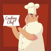 cooking chef lettering man worker restaurant vector
