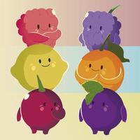 fruit kawaii funny face cartoon different fruits vector