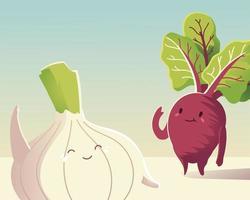 Verduras kawaii cute dibujos animados frescos de remolacha y cebolla vector
