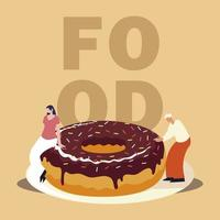 man and woman with chocolate donut sweet food vector