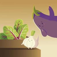 verduras kawaii dibujos animados lindo cebolla berenjena y hojas de lechuga vector
