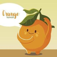 fruit kawaii cheerful face cartoon cute orange vector