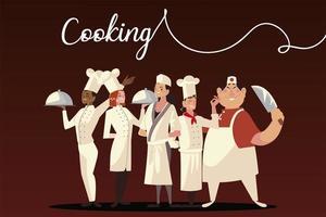 chefs cooking food worker professional staff restaurant vector