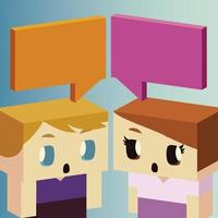 kids, boy and girl characters cartoon talk bubbles, isometric design vector