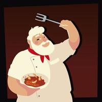 senior chef holding soup and fork cooking restaurant vector