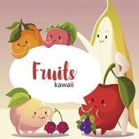fruits kawaii funny face cartoon smiling label design vector