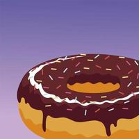 sweet chocolate donut with sprinkles food icon vector