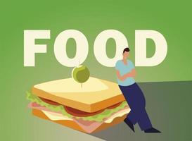 man with sandwich food and cutlery vector