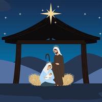 nativity mary joseph and baby in the crib star manger vector