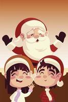 merry christmas cute santa claus with girl and boy cartoon vector