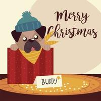 merry christmas cute dog in box greeting card vector