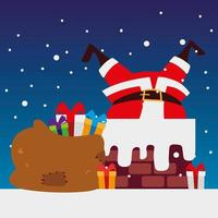 merry christmas santa in chimney with many gifts decoration vector
