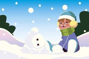 happy boy with warm clothes sitting in snow playing vector