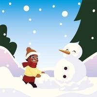 cute little boy with snowball making snowman in winter scene vector