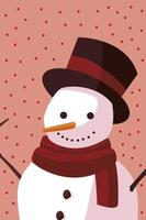 merry christmas cartoon snowman with hat dotted background vector