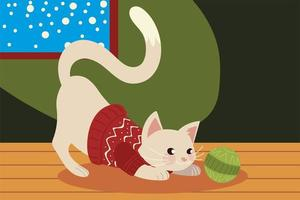 christmas cute cat with sweater in the house vector