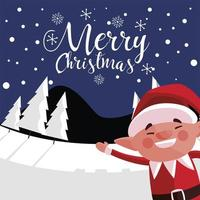 merry christmas cute helper in the winter landscape with lettering vector